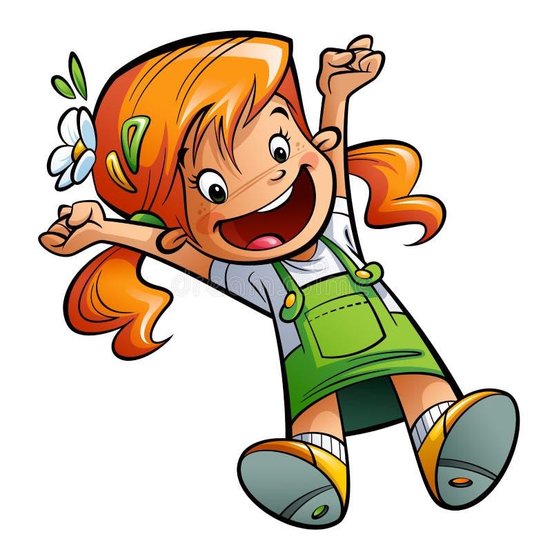 Glückliches nettes Karikaturmädchen, das Hände springt und Bein glücklich, ausdehnend lizenzfreie abbildung