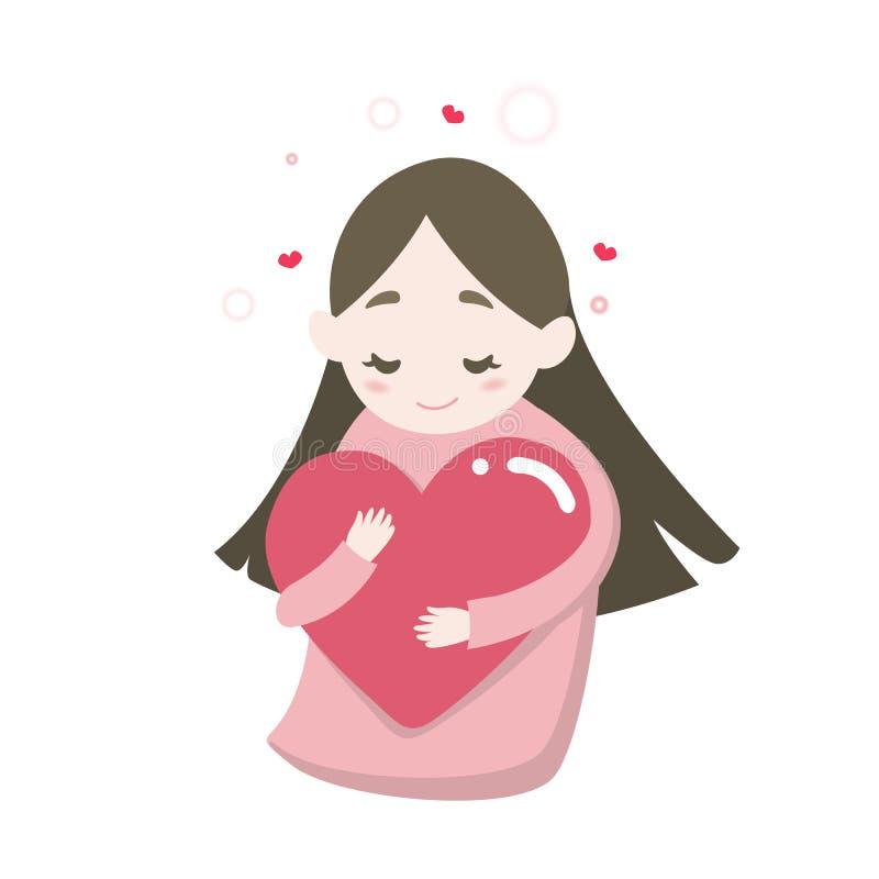 Glückliches nettes Mädchen ` s, das Herz mit Liebesgefühl, Vektorkarikaturillustration umarmt lizenzfreie abbildung