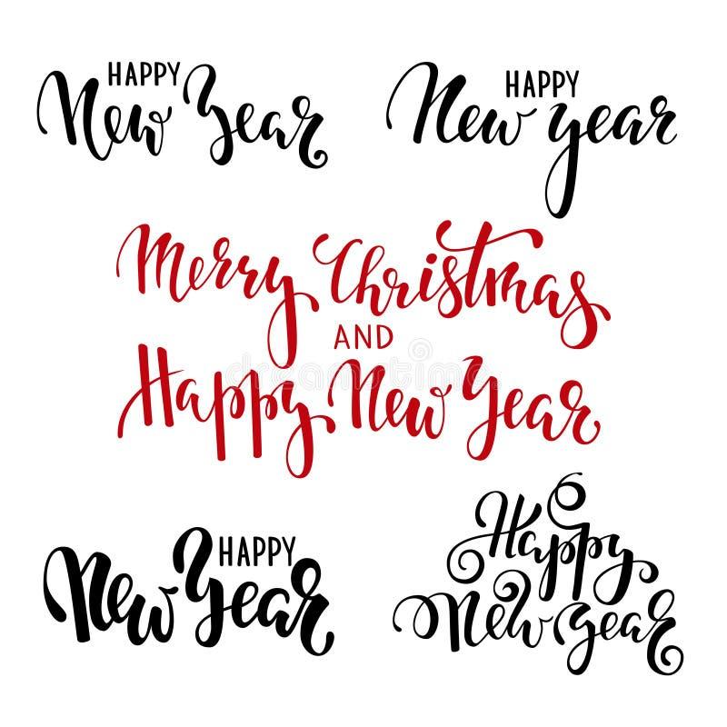 Glückliches neues Jahr Übergeben Sie gezogene kreative Kalligraphie, Bürstenstiftbeschriftung entwerfen Sie Feiertagsgrußkarten u vektor abbildung