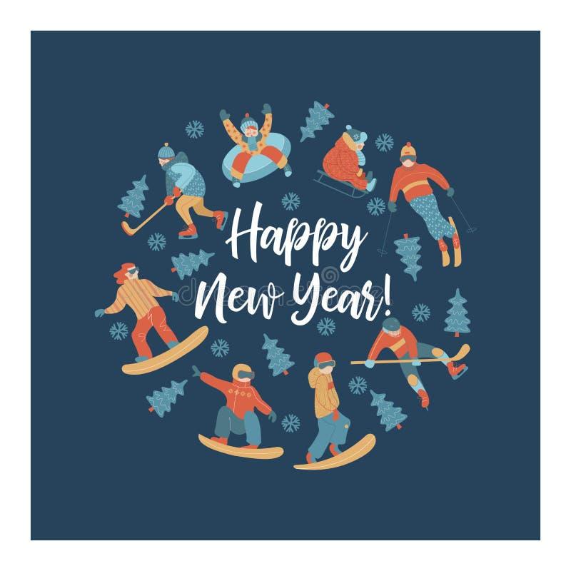 Glückliches neues Jahr Auch im corel abgehobenen Betrag Ein Satz Charaktere teilgenommen an Wintersport und -erholung vektor abbildung