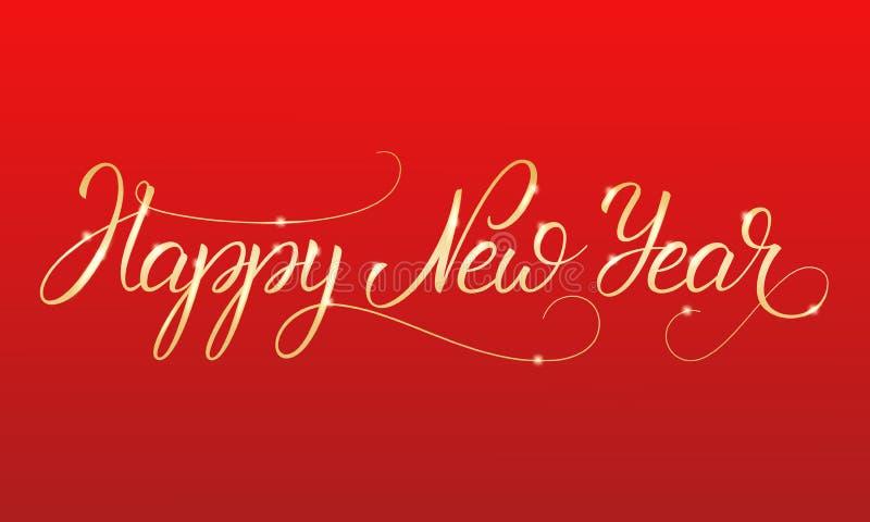 Glückliches neues Jahr Glänzende Goldbeschriftungskalligraphie für Winterurlaube stock abbildung