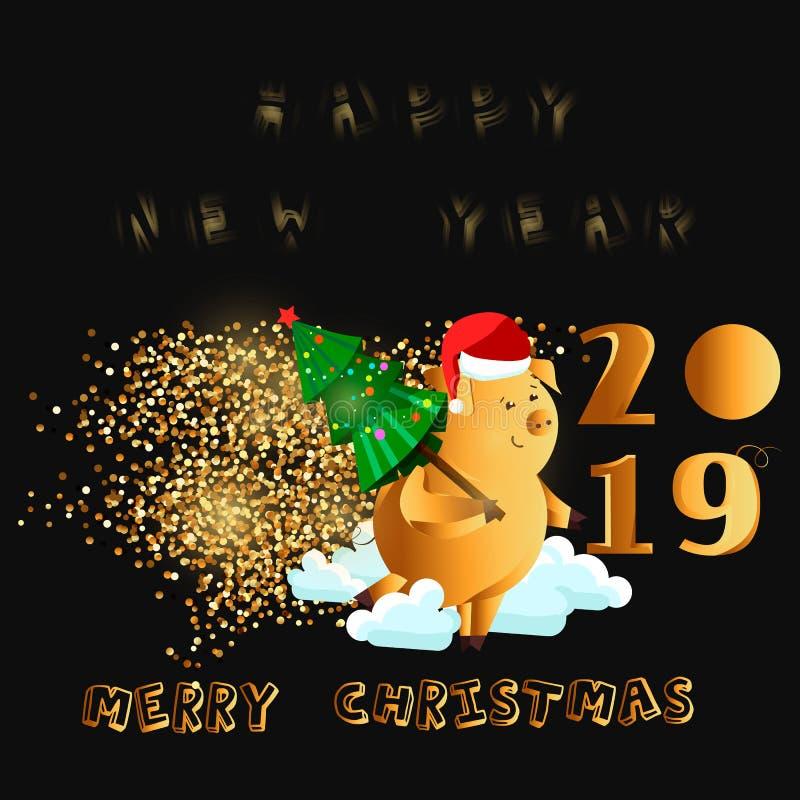 Glückliches neues Jahr Goldnettes lustiges Schwein Chinesisches Symbol von dem 2019-jährigen Ausgezeichneter festlicher Gutschein stock abbildung