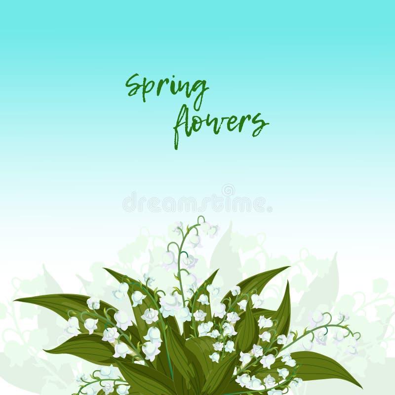 glückliches neues Jahr 2007 Lilly des Tales - Mai-Glocken, Convallaria majalis mit grünen Blättern auf einem blauen Hintergrund vektor abbildung