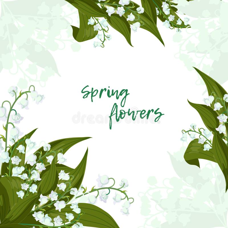 glückliches neues Jahr 2007 Lilly des Tales - Mai-Glocken, Convallaria majalis mit grünen Blättern auf einem weißen Hintergrund vektor abbildung