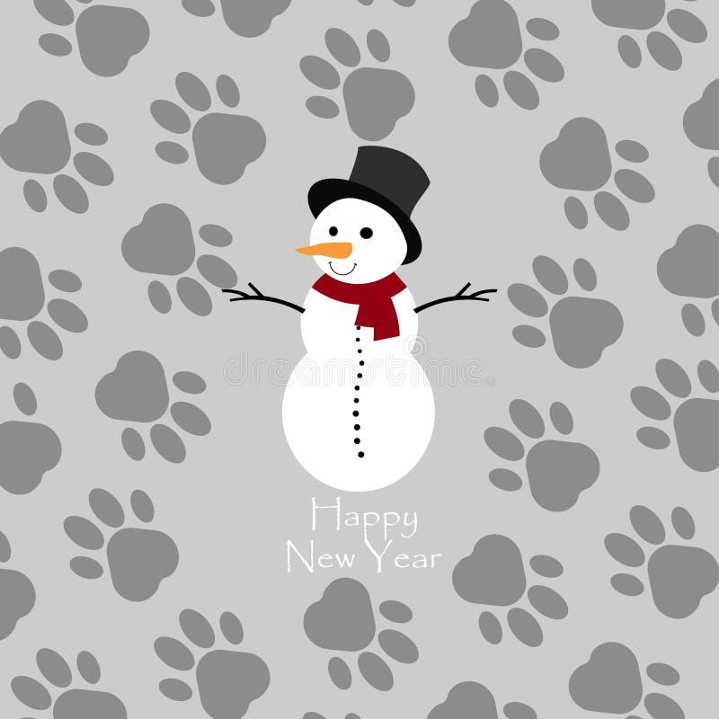 Glückliches neues Jahr Schneemann mit rotem Schal Paw Print Background Auch im corel abgehobenen Betrag lizenzfreie abbildung