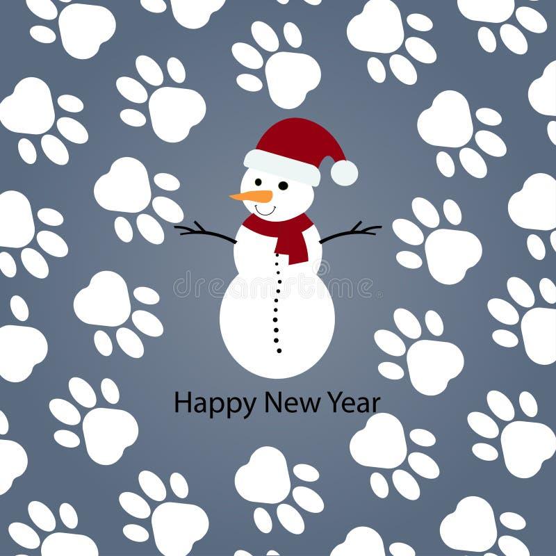 Glückliches neues Jahr Schneemann mit rotem Schal Paw Print Background Auch im corel abgehobenen Betrag vektor abbildung