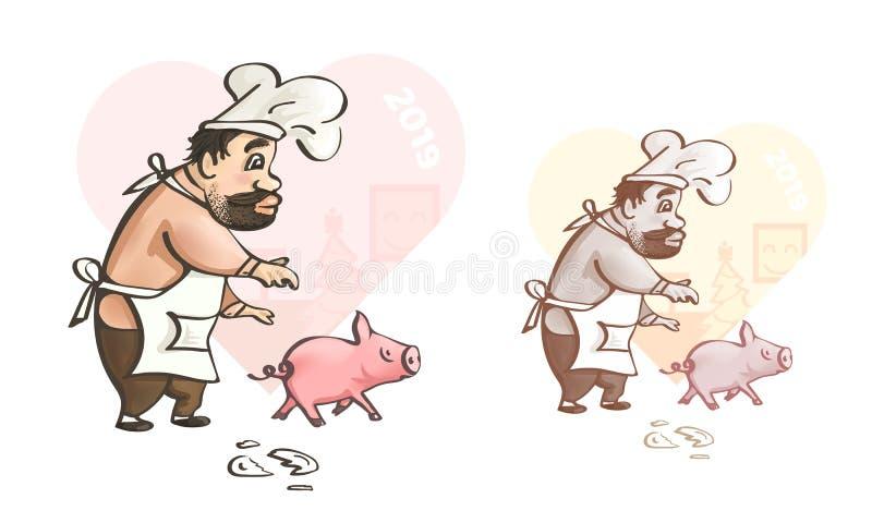 glückliches neues Jahr 2007 Spaßkunst des Chefs mit Schwein lizenzfreie abbildung