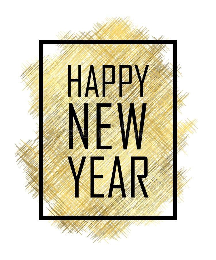 Glückliches neues Jahr-Text Goldguten rutsch ins neue jahr oder Weihnachten lokalisierter Hintergrund Trauerrandrahmen Goldene Be lizenzfreie abbildung