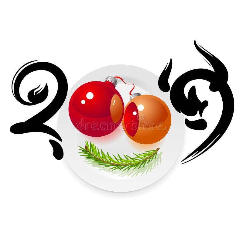 Glückliches neues Jahr und Bon appetit lizenzfreie abbildung