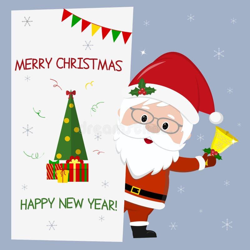 Glückliches neues Jahr und frohe Weihnachten Nette Santa Claus mit den Gläsern, die eine Glocke halten Es ist hinter einem Schild lizenzfreie abbildung