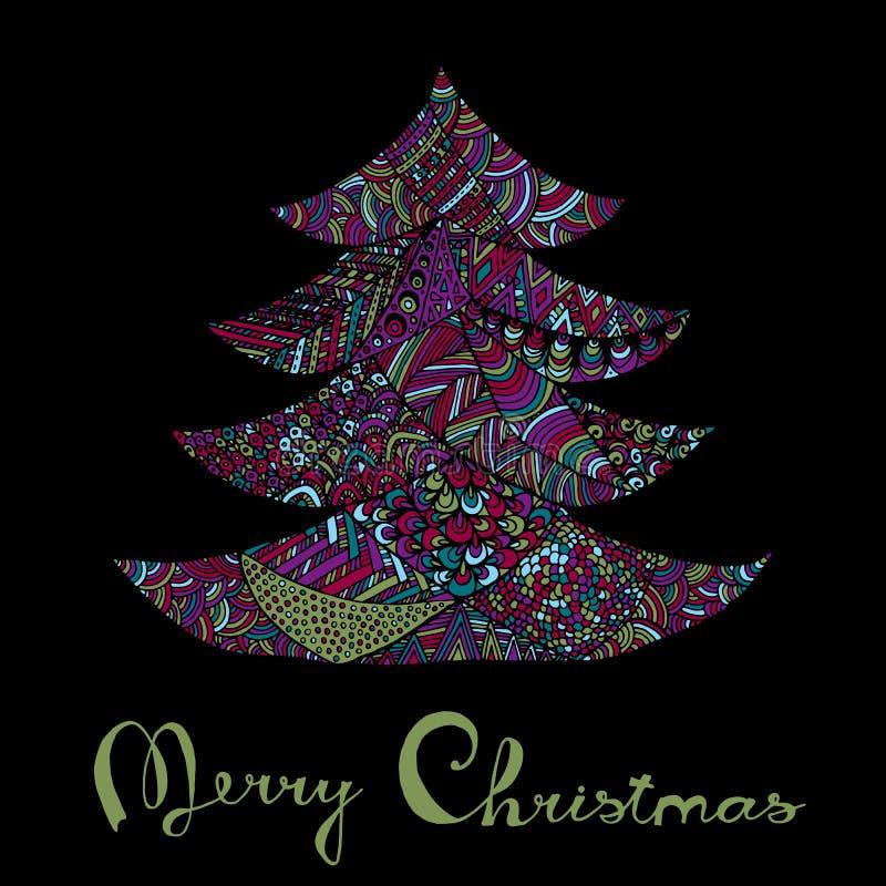 Glückliches neues Jahr und Karte der frohen Weihnachten stock abbildung