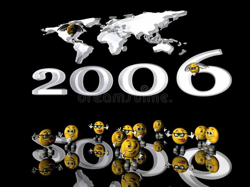 Glückliches neues Jahr von den Emoticonkerlen. lizenzfreie abbildung