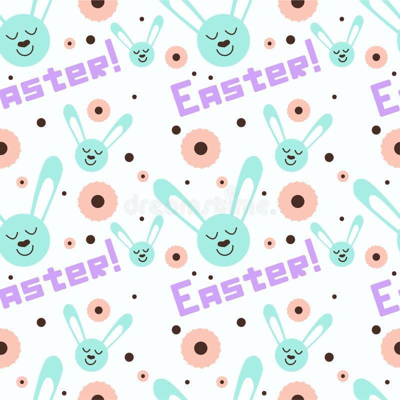 Glückliches Ostern-Muster mit einzigartiger Benennung und nettem Kaninchen lizenzfreie abbildung