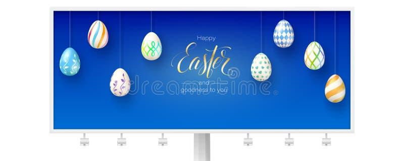 Glückliches Ostern und Güte zu Ihnen Anschlagtafel mit festlichen Grüßen lokalisiert auf weißem Hintergrund calligraphic vektor abbildung