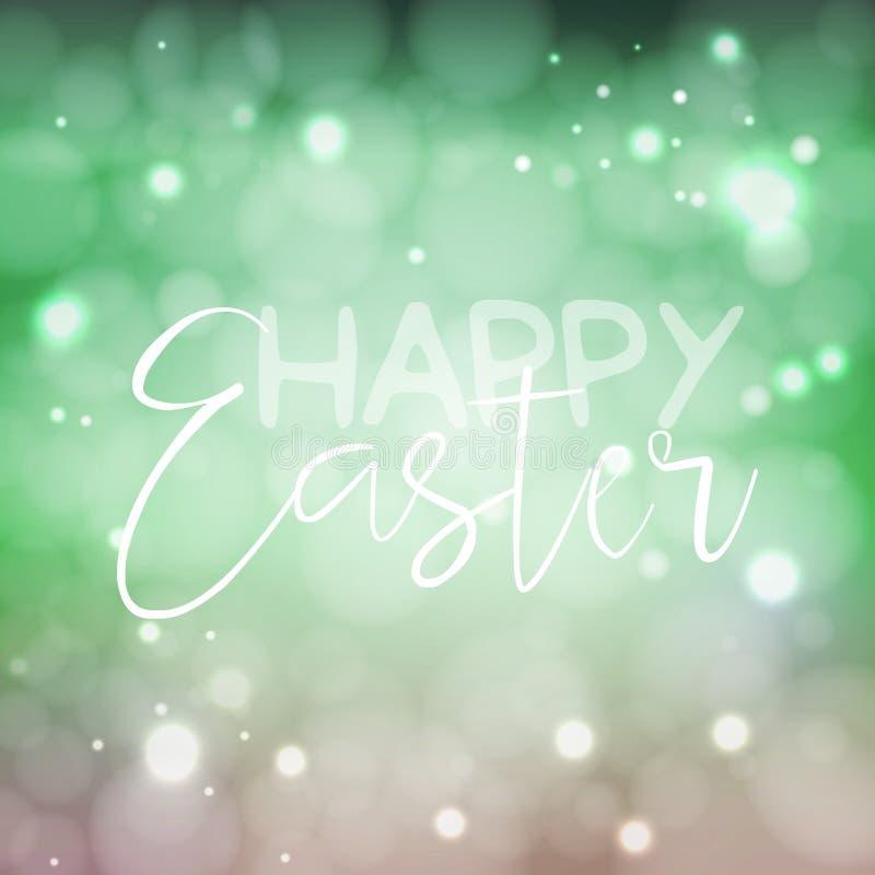 Glückliches Ostern-Willkommensschild Vector Typografie in den neuen Farben für Ihr Design Weinlesebeschriftung auf unscharfem bok vektor abbildung