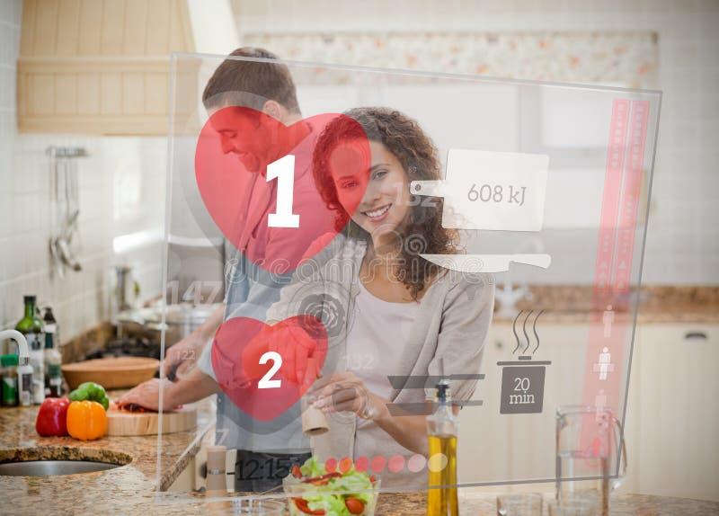 Glückliches Paar, das Abendessen unter Verwendung der Schnittstellenanweisungen macht vektor abbildung