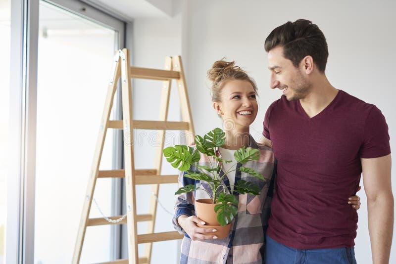 Glückliches Paar, das ihr Material während heraus sich bewegen verpackt stockbilder