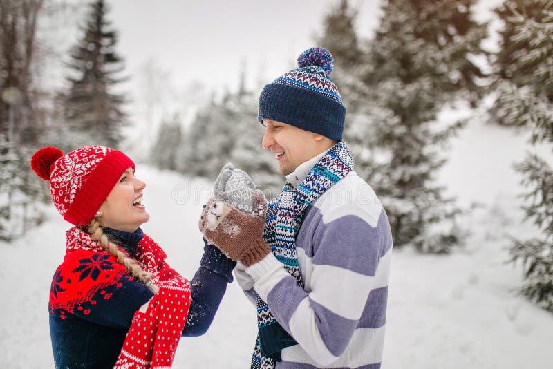 Glückliches Paar, das Spaß draußen im Winterpark hat lizenzfreie stockfotos