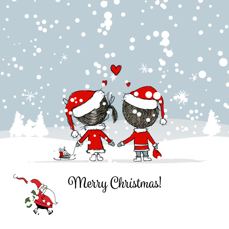 Glückliches Paar in der Winterwaldweihnachtskarte stock abbildung