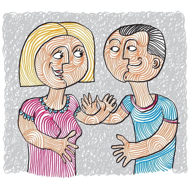 Glückliches Paar, Familie, Idee der menschlichen Beziehungen Liebe und happine lizenzfreie abbildung