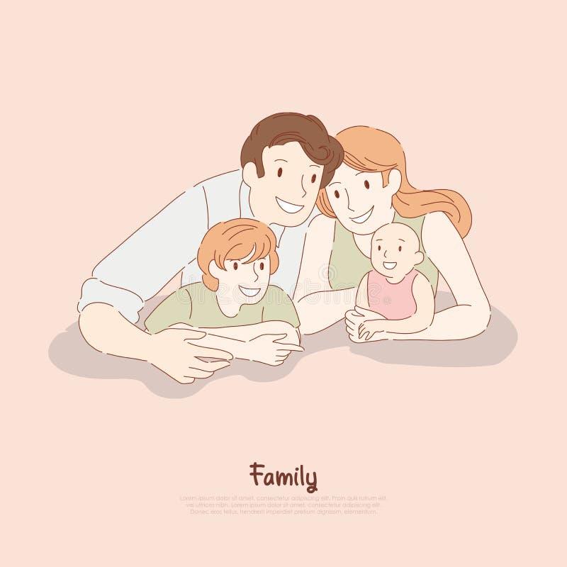 Glückliches Paar mit Kindern, Ehemann und Frau mit Sohn und Kleinkind, traditionelle Werte, Kinderbetreuung, Familienbeziehungsfa stock abbildung