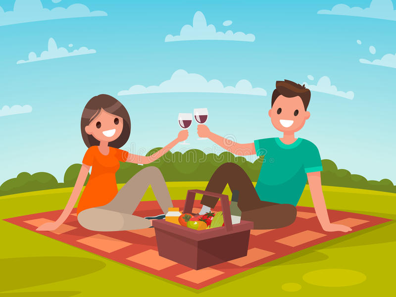 Glückliches Paar von jungen Leuten auf einem Picknick Eine Reise zu Natur toget lizenzfreie abbildung