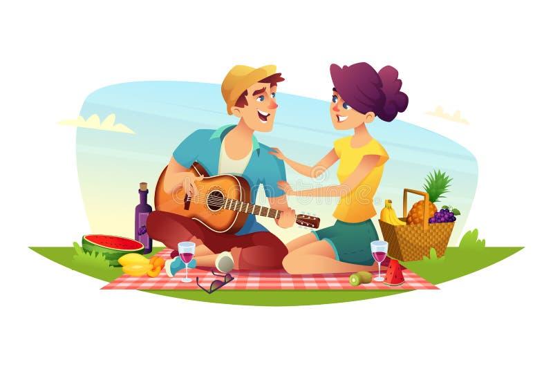Glückliches Paar von Liebhabern hat ein Picknick auf Natur Design von Zeichentrickfilm-Figuren stock abbildung