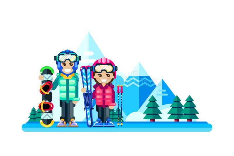 Glückliches Paar am Winterskiort, Vektor flaches lokalisiertes illustra lizenzfreie abbildung