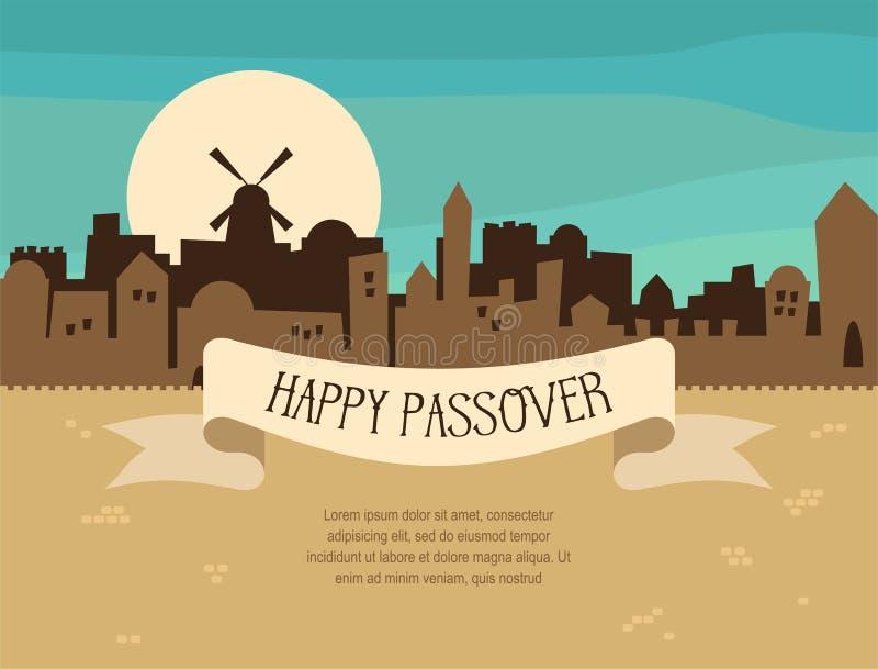 Glückliches Passahfestgruß-Kartendesign mit Jerusalem-Stadtskylinen Auch im corel abgehobenen Betrag stock abbildung