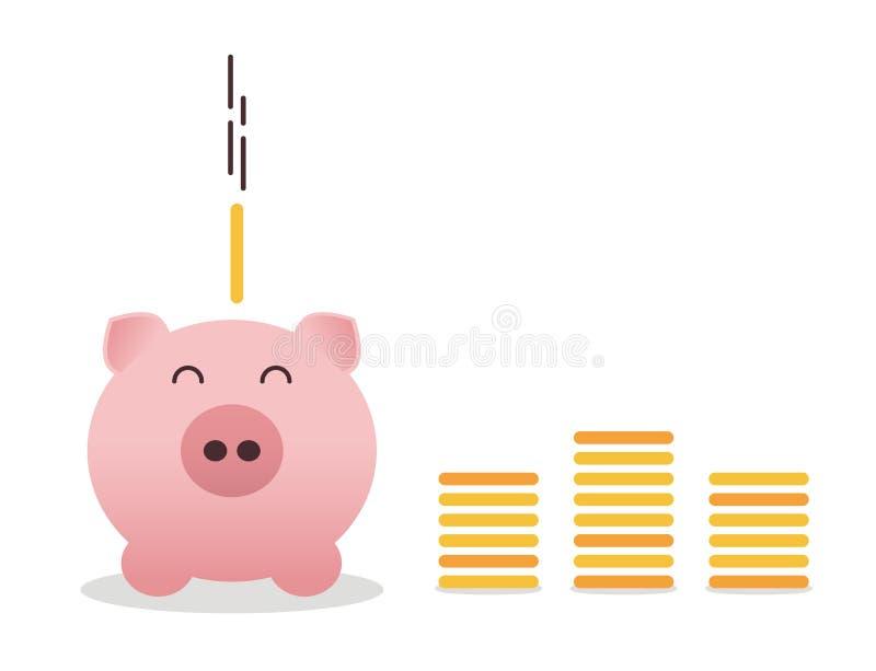 Glückliches piggybank umgeben durch die Geldtürme gemacht von den Münzen mit einer Münze, die in sein Schließfach fällt Taube als stock abbildung