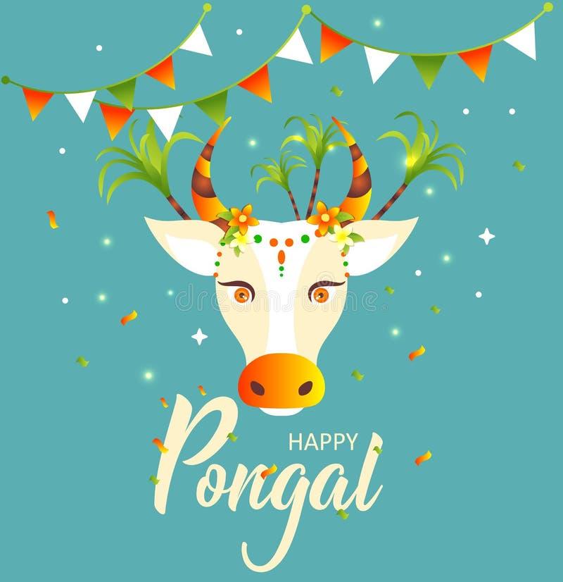 Glückliches Pongal Verzierte Kuh und Reis Grußkarte für indisches erntendes Festival Auch im corel abgehobenen Betrag vektor abbildung