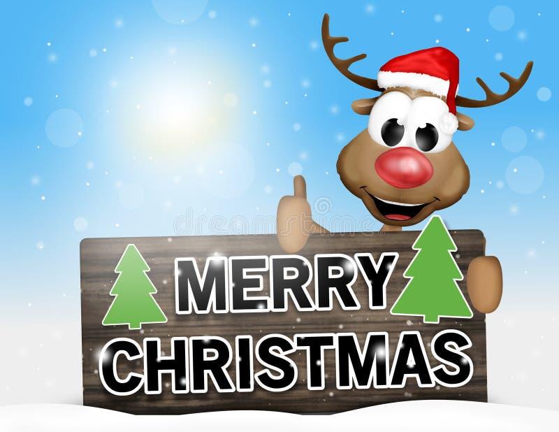 Glückliches Ren des Zeichens der frohen Weihnachten vektor abbildung