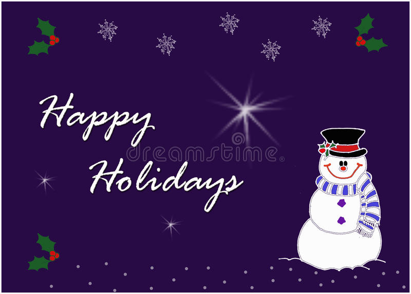 Glückliches Schneemanngrußkartenbild stockbilder