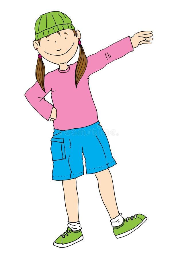 Glückliches schulpflichtiges Mädchen im Park oder in der Schule in der Anzeige einer Adresse oder willkommenen des rechten und de stockfotografie
