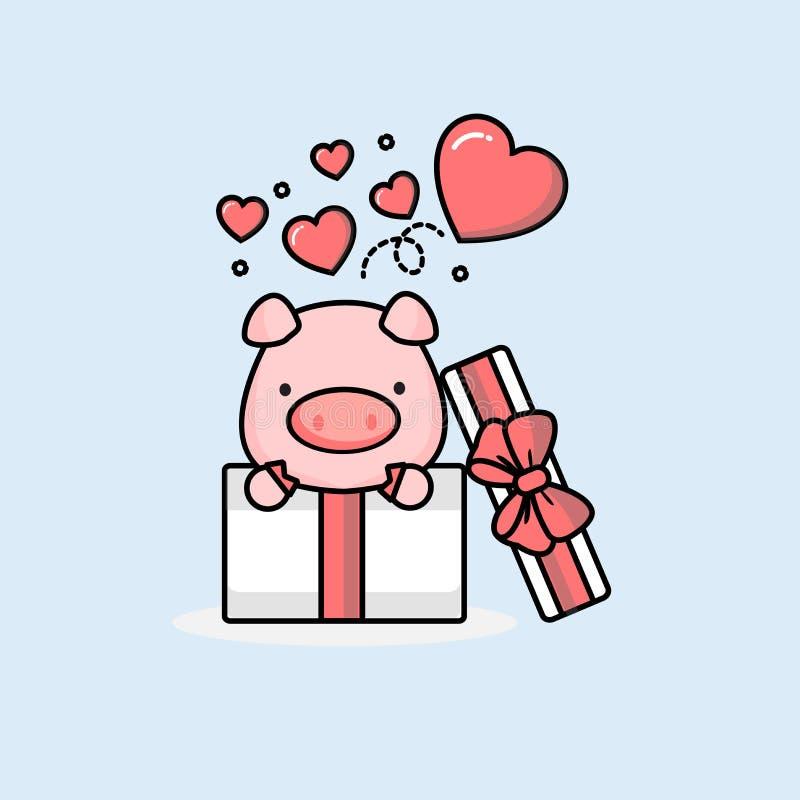 Glückliches Schwein innerhalb der offenen Geschenkbox mit Fliegenherzen Auch im corel abgehobenen Betrag stock abbildung