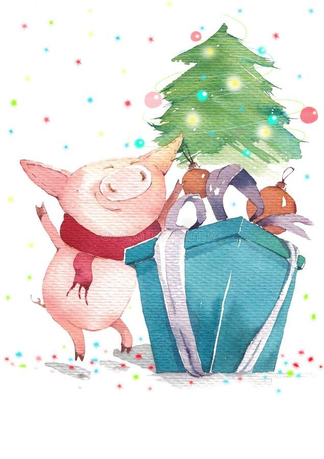 Glückliches Schwein und Weihnachtsbaum stock abbildung