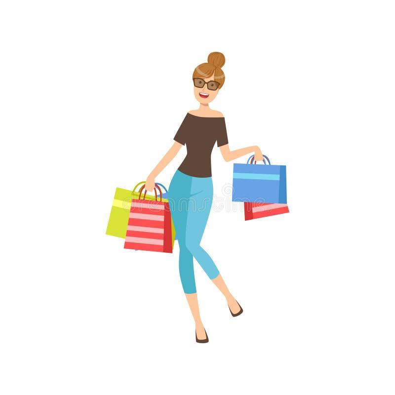 Glückliches Shopaholic-Mädchen mit den Papiereinkaufstaschen, die dunkle Gläser, Teil Frauen-der unterschiedlichen Lebensstil-Sam stock abbildung