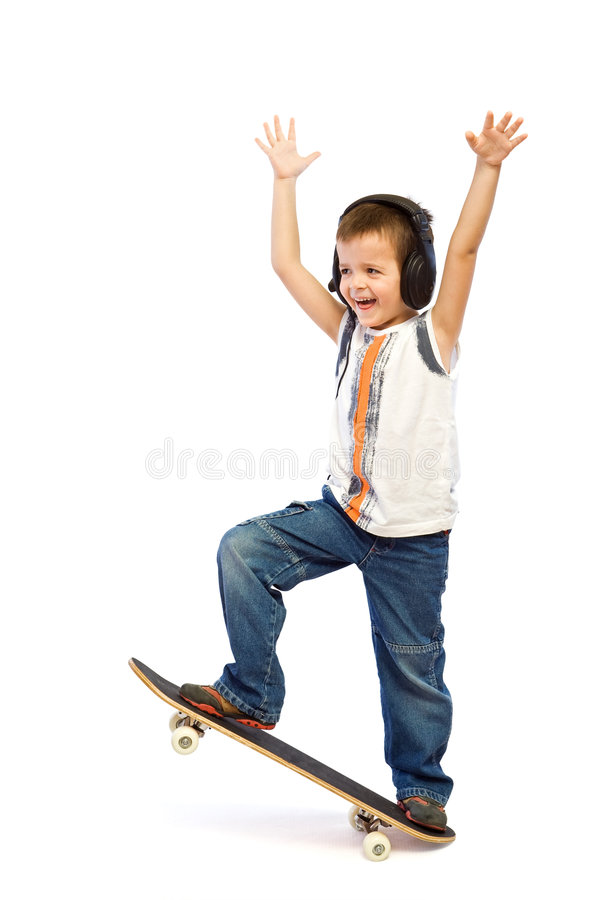 Glückliches Skateboardkind stockfotos