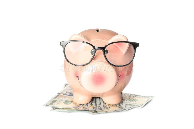 Gl?ckliches Sparschwein mit Gl?sern auf den Dollar lokalisiert auf wei?em Hintergrund stockfotos