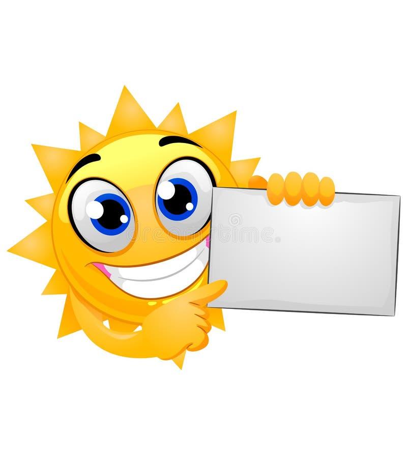 Glückliches Sun-Maskottchen, das ein leeres Brett hält lizenzfreie abbildung