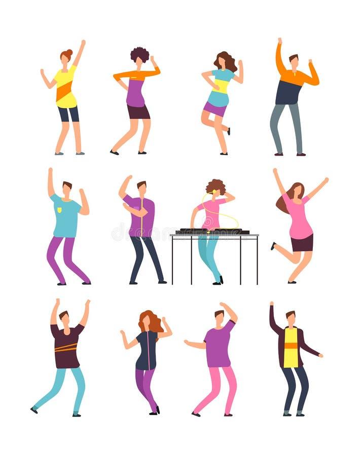 Glückliches Tanzen der jungen Leute Mann- und Frauenkarikaturtänzer lokalisiert auf weißem Hintergrund lizenzfreie abbildung