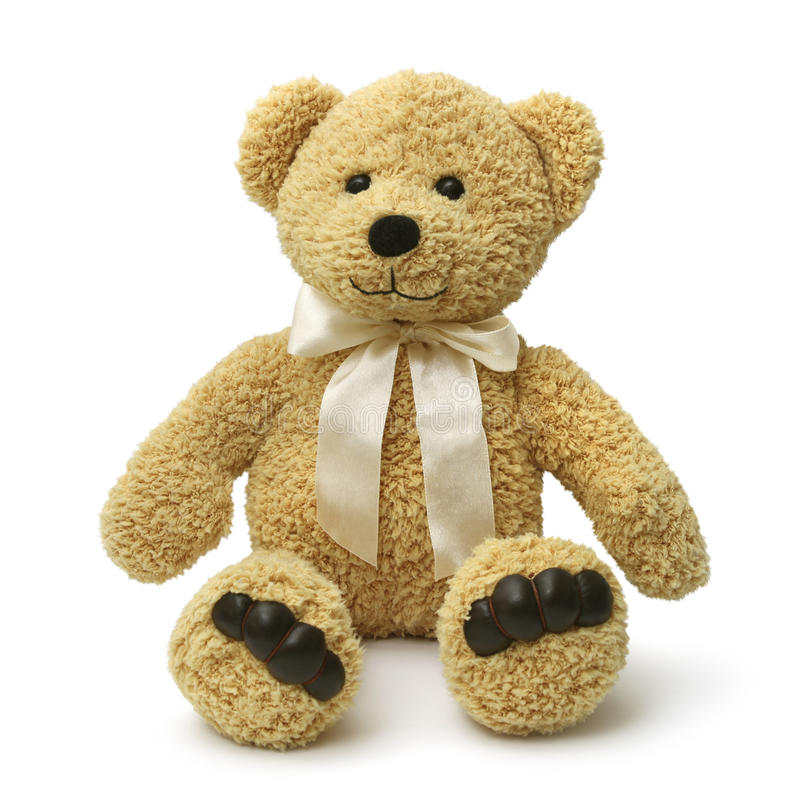 Glückliches Teddybärsitzen lizenzfreie stockfotos