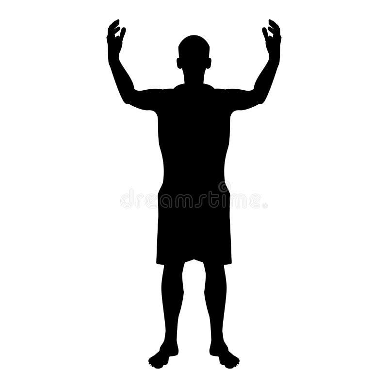 Glückliches Treffen jedermann des Mannes Schattenbild, das der Vorderansichtikone des Freudenkonzeptes schwarze Illustration Farb vektor abbildung