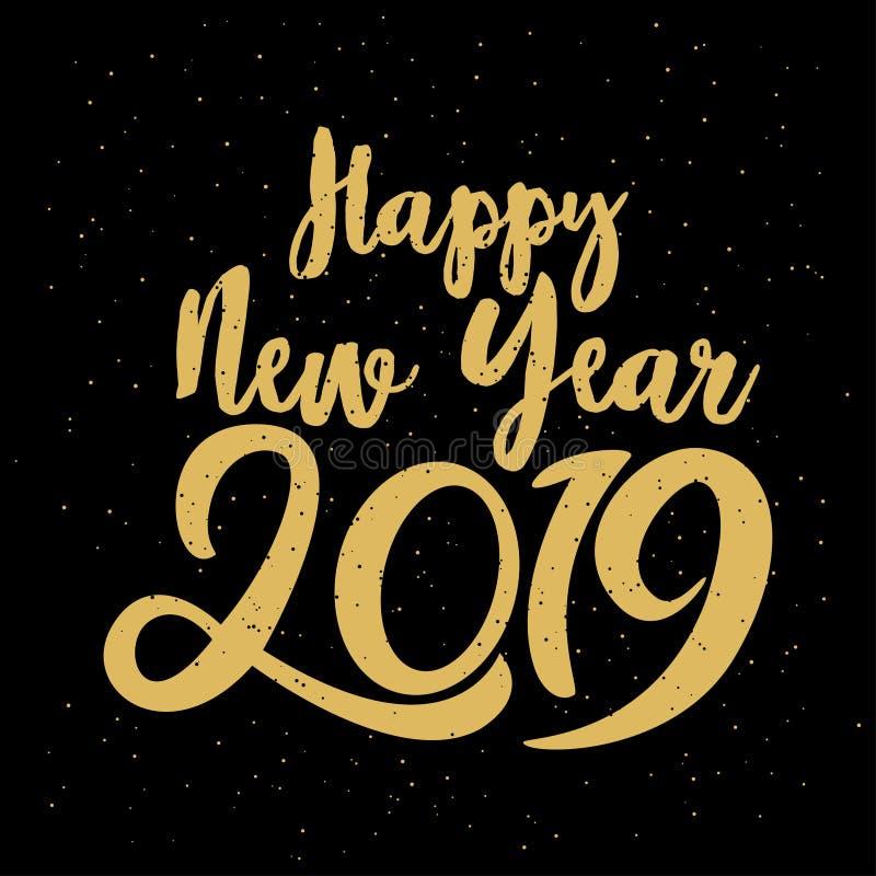 Glückliches typografisches 2019 neues Jahr Vektor-Illustration mit dem Beschriften des festlichen Aufklebers der Zusammensetzungs lizenzfreie abbildung