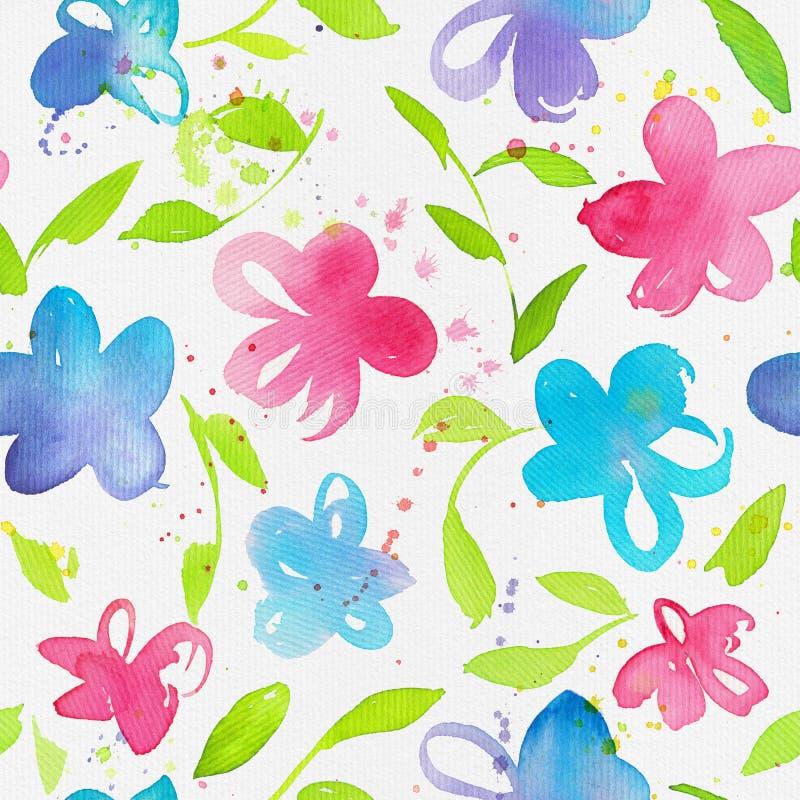 Glückliches und helles nahtloses mit Blumenmuster mit Hand gezeichnetem waterco lizenzfreie abbildung