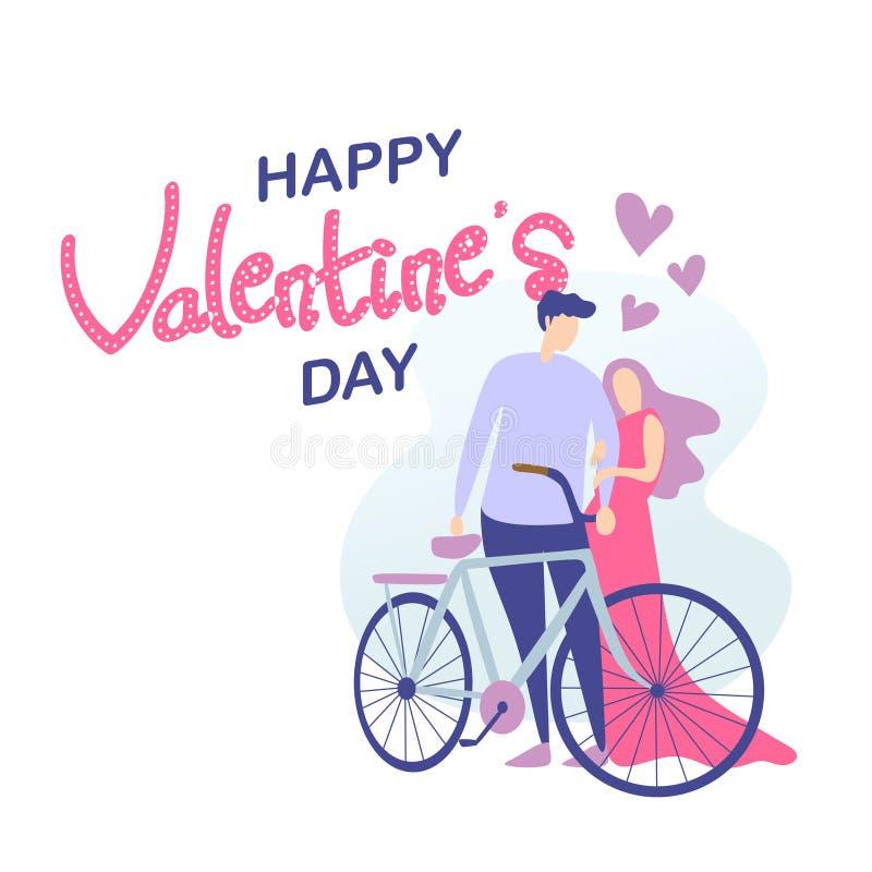 Glückliches valentine' s-Tageskarte mit netten Paaren und traditioneller Fahrradvektorillustration valentine' s-Tagesth vektor abbildung