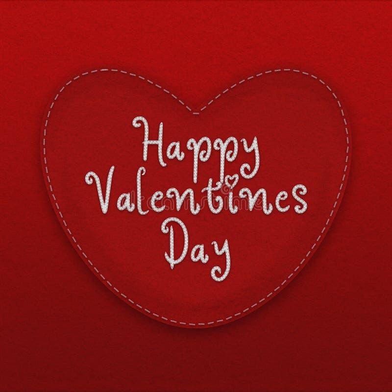 Glückliches Valentinsgruß ` s Tageskonzept mit genäht herauf Rot glaubte Herzen und Hintergrund stock abbildung