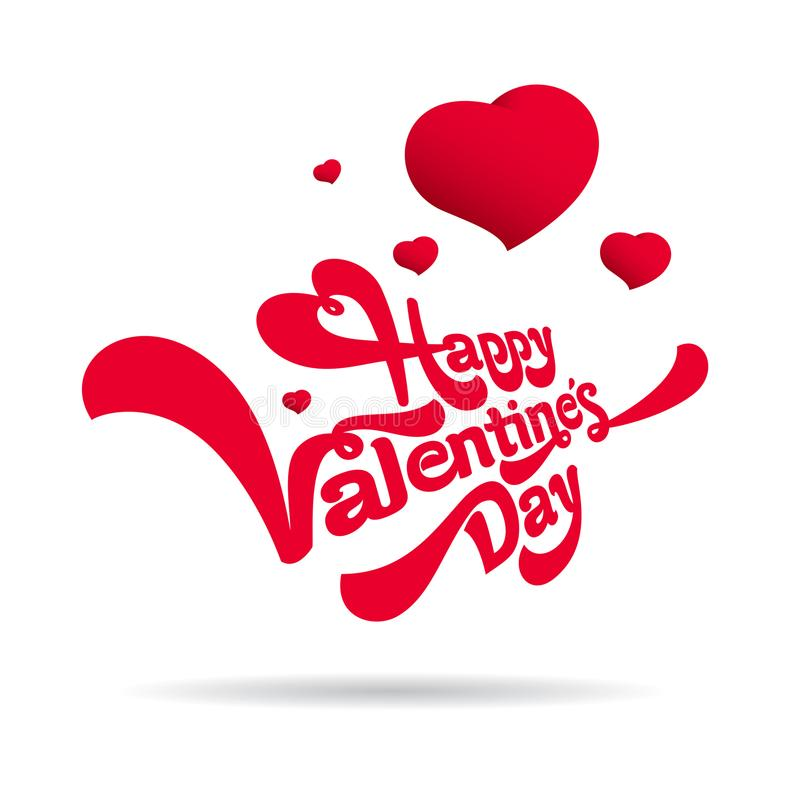 Glückliches Valentinsgruß-Tagesbeschriftungslogodesign Geschenk für Liebhaber lizenzfreie abbildung