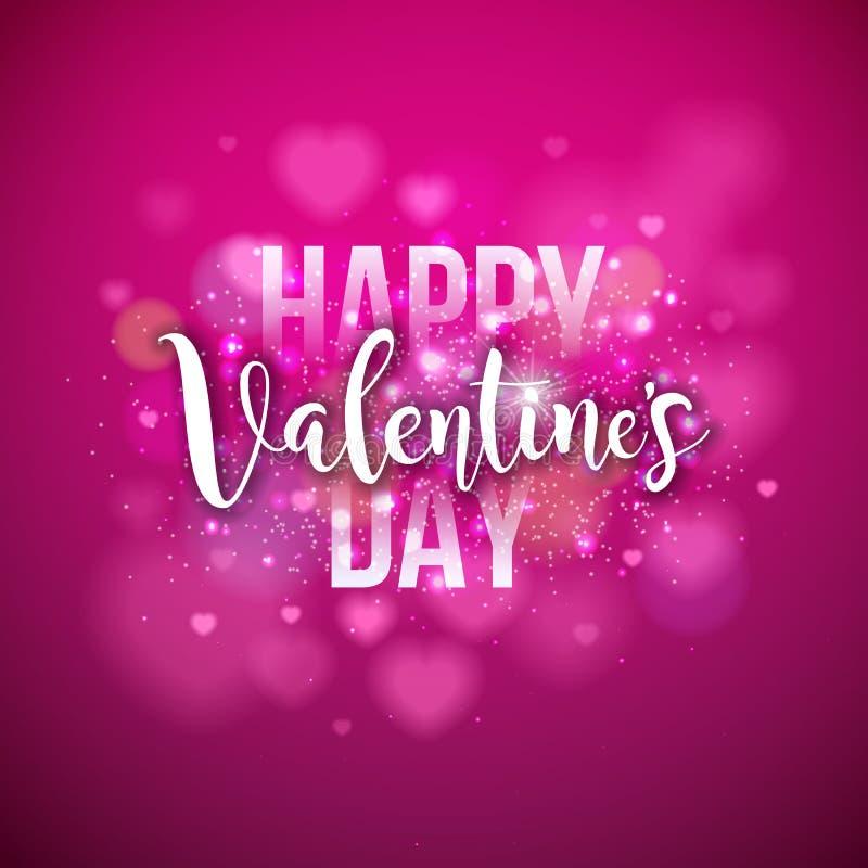 Glückliches Valentinsgruß-Tagesdesign mit Feiertag Typograhy-Buchstaben und Herz auf glänzendem rosa Hintergrund Vektor-Hochzeit  vektor abbildung