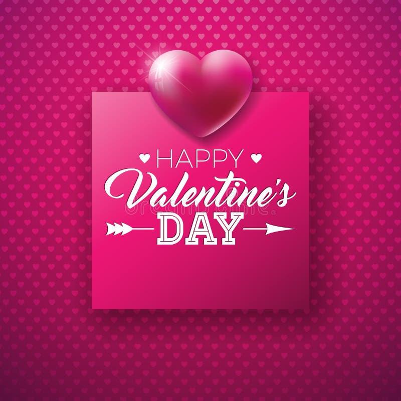 Glückliches Valentinsgruß-Tagesdesign mit glänzendem Herz-und Typografie-Buchstaben auf rotem Hintergrund-Muster Erstklassige Vek lizenzfreie abbildung